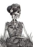 Czaszki sztuki mody modela dzień nieboszczyk Obraz Royalty Free