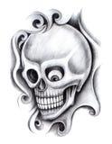 Czaszki sztuki tatuaż Zdjęcia Stock