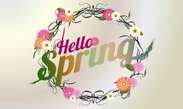Cześć wiosny tło z pięknym kwiatu wiankiem Wektorowe ilustracje - vectorielles zdjęcie stock