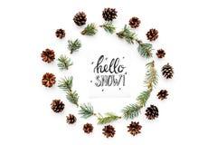 Cześć śnieżny ręki literowanie Zima wzór z pinecones i świerczyna rozgałęziamy się na białego tła odgórnym widoku fotografia stock