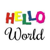 Cześć Światowa teksta projekta ilustracja Zdjęcia Stock