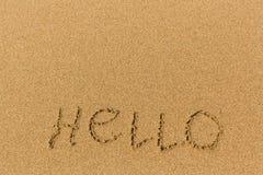 Cześć - formułuje patroszonego na piasek plaży Zdjęcie Royalty Free