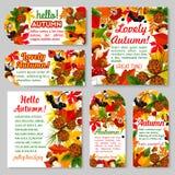 Cześć jesień sztandar i sezon jesienny etykietki set ilustracji