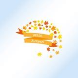 Cześć jesień, Tasiemkowy sztandar Zdjęcia Royalty Free