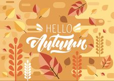 Cześć jesień tekst w literowaniu na tle w mieszkanie stylu z liściem i jesieni colours Wektorowy ilustracyjny projekt royalty ilustracja