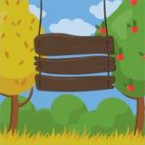 Cześć, jesień, Wielki przyjęcie, drewnianej deski znak z daktylowych i czasu szczegółami na jesień ogródu tła wektoru ilustraci ilustracja wektor