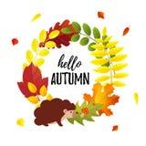 Cześć jesieni śliczna karta z jesień liśćmi wianki i kreskówka jeża mieszkanie projektujemy zdjęcia royalty free