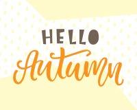 Cześć jesieni karta Typografia plakatowy projekt Zdjęcie Stock