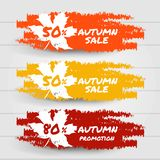 Cześć jesieni sprzedaży promoci kolekci sztandar Rewolucjonistki, koloru żółtego i pomarańcze muśnięcia uderzenia pluśnięć etykie zdjęcia royalty free