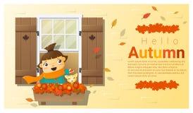 Cześć jesieni tło z małą dziewczynką Obrazy Royalty Free