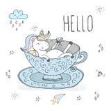 Cześć karta Śliczna jednorożec bierze skąpanie w porcelany filiżance Printable szablony ilustracja wektor