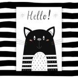 Cześć karta Ręka Rysujący śliczny Śmieszny kot Printable szablon royalty ilustracja