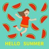Cześć lata kartka z pozdrowieniami Dziewczyna skacze Szczęśliwego dziecka skacze Ślicznej kreskówki roześmiany charakter w czerwi Zdjęcia Royalty Free