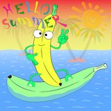 Cześć lato bananowa plakatowa ilustracja Obraz Royalty Free
