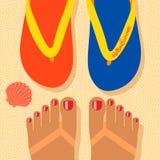 Cześć lato, jaźń krótkopędu cieki na plaży ilustracji