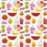Cześć lato jaskrawy tropikalny bezszwowy wzór, moda łata odznaka majcherów Persimmon, bonkreta, ananas, czereśniowa smoothie fili royalty ilustracja