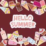 Cześć lato Karciany projekt dla twój teksta babeczki z śmietanką, lody w gofrów rożkach, lodowym lolly Kawaii z różowymi policzka ilustracja wektor
