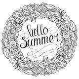 Cześć lato kwiecisty wianek Zdjęcie Stock