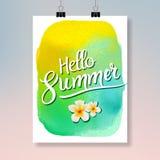 Cześć lato Nowożytny plakatowy projekt Kolorowy lato akwareli broszurki lub ulotki projekta szablon royalty ilustracja