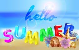 Cześć lato plaży przyjęcia ulotka Wektorowy projekt eps 10 Zdjęcie Stock