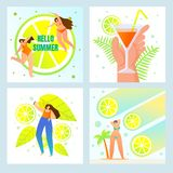 Cześć lato, plaży przyjęcie, Świeży napoju menu set ilustracja wektor
