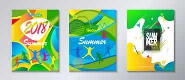 Cześć lato podróży plakatowy tropikalny festiwal ilustracji