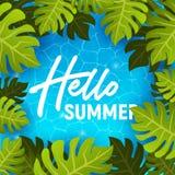 Cześć lato sieci sztandaru tło Morze lub basen z palmą Cześć wakacje letni przyjęcia plaży szablonu tło również zwrócić corel ilu royalty ilustracja