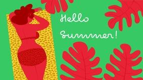 Cześć lato Sunbathing Zdjęcia Stock
