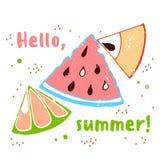 Cześć lato wektoru karty abstrakcjonistyczna ilustracja Fotografia Stock