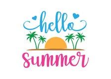 cześć lato z plażowej temat typografii projekta wektorowym szablonem Fotografia Royalty Free