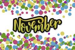 Cześć Listopad Inspiracyjna wycena Typografia dla kalendarza, plakat, zaproszenie, kartka z pozdrowieniami lub koszulka, Wektorow Zdjęcia Stock