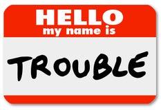 Cześć Mój imię jest kłopotu Nametag majcherem Fotografia Royalty Free