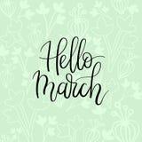 Cześć Marzec ręki literowania inskrypcja Wiosna kartka z pozdrowieniami Szczotkarska kaligrafia Zdjęcie Royalty Free