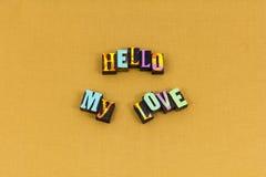 Cześć miłość wita szczęście mile widziany typografię zdjęcie stock