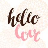 Cześć miłość - wręcza literowanie typografii plakat z kwiatami Projektuje element dla parapetówa plakata, koszulka projekt, kartk ilustracji