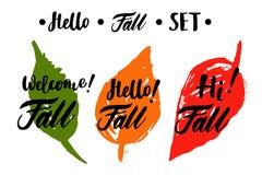 Cześć, Cześć, Mile widziany spadku kaligraficzny set z liśćmi Wektor odosobniona ilustracja: szczotkarska kaligrafia, ręki litero Zdjęcie Stock