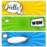 Cześć! NO! NO!! Komiczni mowa bąble Wystrza? sztuki etykietki wektorowa ilustracja Rocznik komiczek ksi??kowy plakat na zielonym  zdjęcie royalty free