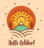 Cześć Październik sezonowa pocztówka z krajobrazowymi elementami ilustracji
