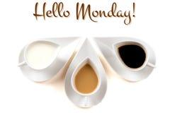 Cześć Poniedziałku pojęcie z filiżankami Zdjęcia Royalty Free