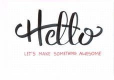 ` Cześć Pozwalał ` s Robi Coś Wspaniałemu ` ręki literowania projektowi w błękicie i pomarańcze ilustracji