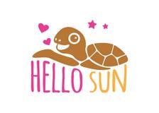 cześć słońce z żółwia lata tematu loga projekta wektorowym szablonem Obraz Stock