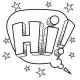 Cześć słowo komiksu kolorystyki wektoru ilustracja Obraz Royalty Free