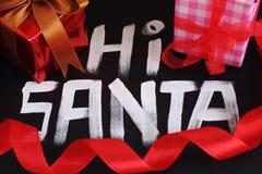 Cześć Santa na czarnym tle Zdjęcie Stock