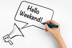 Cześć weekend Megafon i tekst na białym tle zdjęcie royalty free