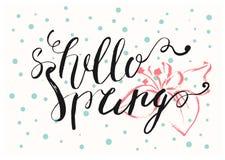 Cześć wiosna listów ręka rysująca karta Fotografia Stock
