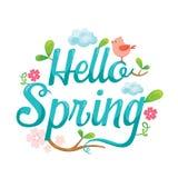 Cześć wiosna list Dekoruje Z zwierzęciem, liściem I kwiatem, ilustracji
