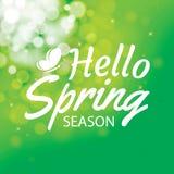Cześć wiosna na zielonym bokeh tle Kartka z pozdrowieniami projekta dowcip ilustracji