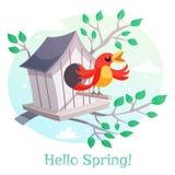 Cześć wiosna plakat Birdhouse i śpiewacki ptak Zdjęcie Royalty Free
