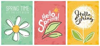 Cześć wiosna sezonowi sztandary inkasowi ilustracja wektor