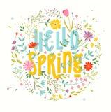 Cześć wiosna szczegółowy rysunek kwiecisty pochodzenie wektora ilustracji